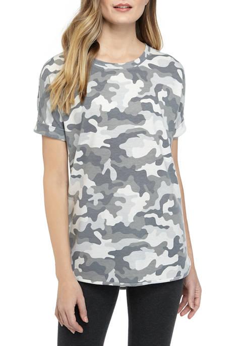 Womens Round Hem Printed Shirt