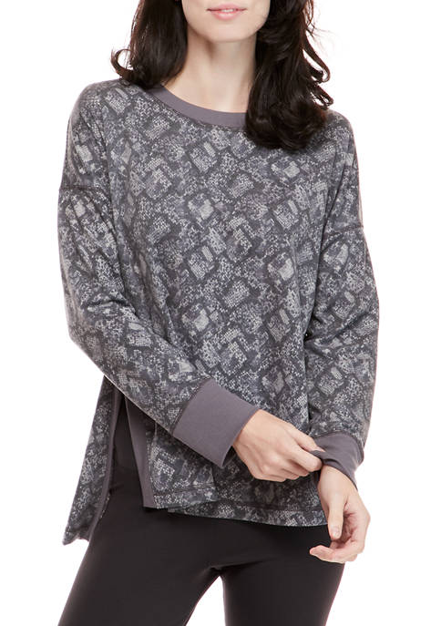 Womens Studio Crew Neck Sweatshirt with Slits