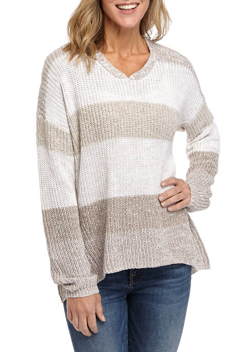 New Directions® Womens Long Sleeve Stripe Pullover Sweater