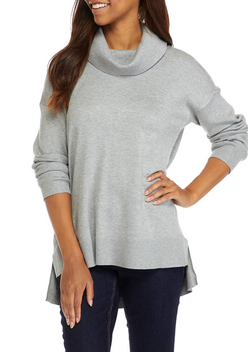 Womens Solid Cowl Sweater
