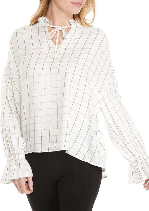 New Directions® Womens Puff Sleeve Romantic Blouse