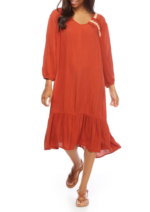 Womens Blouson Sleeve Embroidered Dress