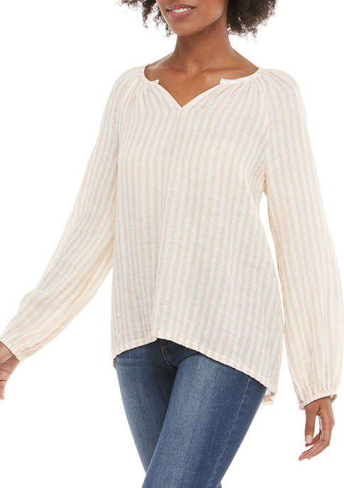 New Directions® Womens Long Sleeve Puckered Gauze Top
