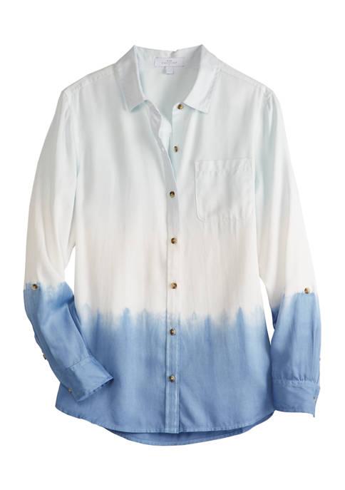 New Directions® Womens Long Sleeve Girlfriend Shirt