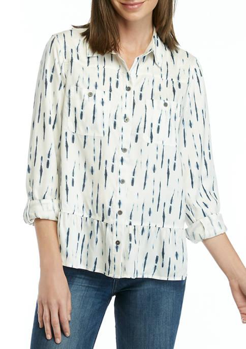 New Directions® Womens Printed Peplum Boyfriend Shirt