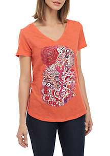 New Directions® Short Sleeve V Neck Graphic Tee