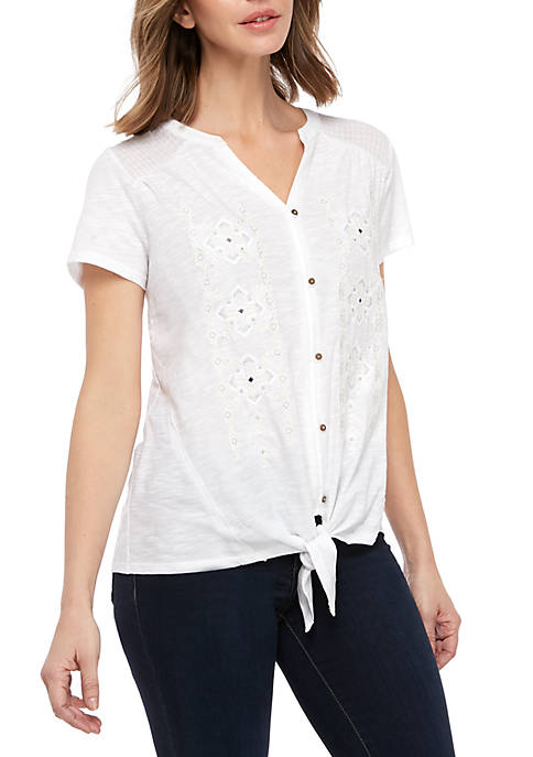 New Directions® Embellished Tie Front Top