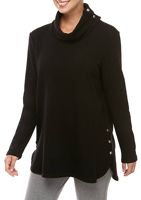 Womens Studio Long Sleeve Snap Neck Heathered Pullover