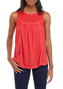 New Directions® Sleeveless Dyed Crochet Yoke Top
