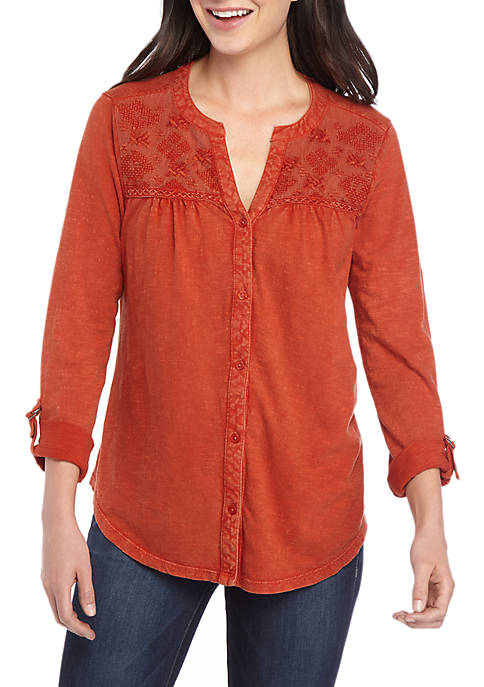 Mesh Embroidered Yoke Top