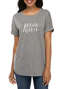 New Directions® Round Hem Heathered Short Sleeve Wine Down Graphic T Shirt