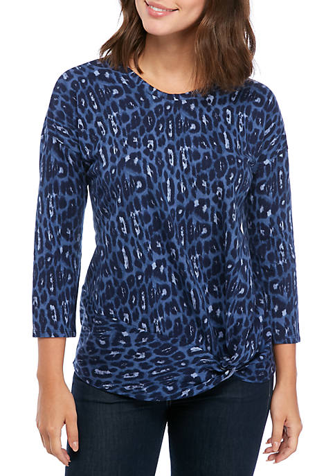 New Directions® Womens Long Sleeve Knot Front Top