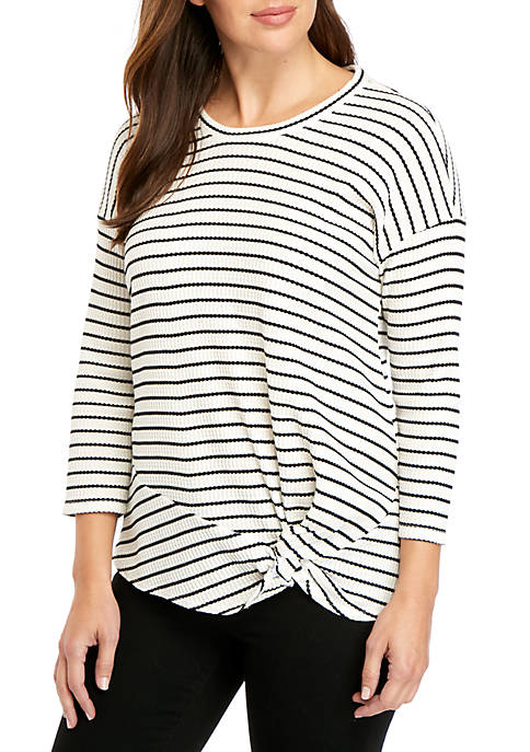 Front Knit Long Sleeve Top