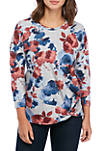 Womens Front Knot Long Sleeve Top