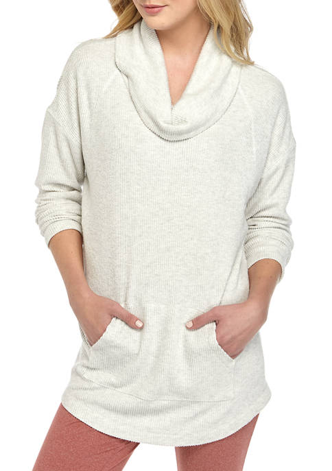 New Directions® Long Sleeve Ribbed Hacci Cowl Neck