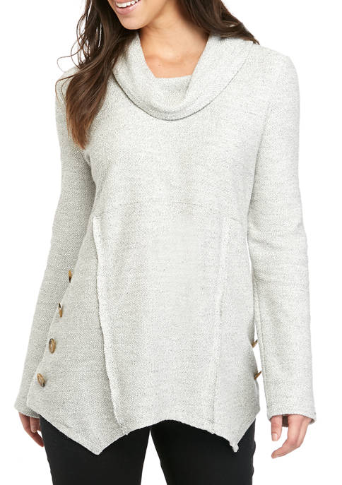 Womens Cowl Neck Side Button Pullover