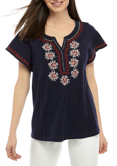 Womens Short Sleeve Split Neck Embroidered Top