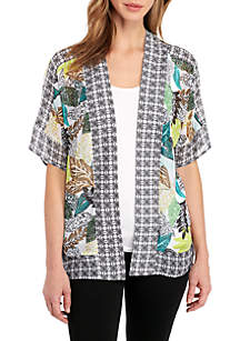 Dolman Sleeve Print Mix Kimono