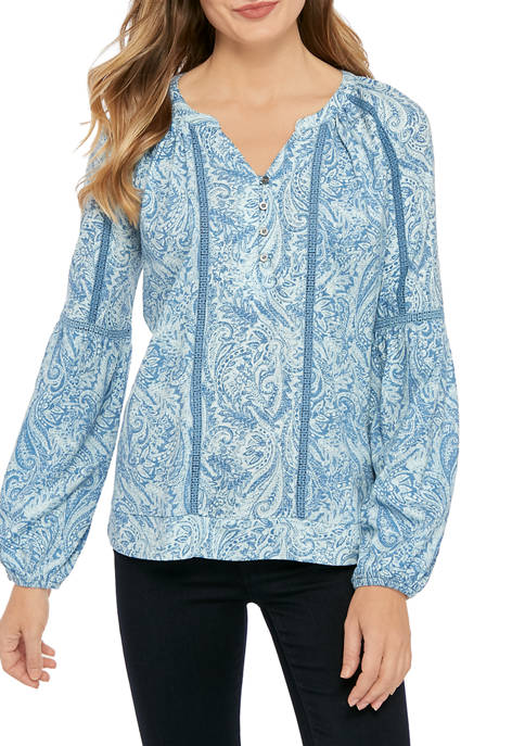 New Directions® Womens Paisley Print Peasant Top