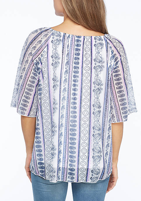 Smock Neck New Directions Top Raglan  free shipping with paypal discounts cheap price free shipping online B6UWKCZ