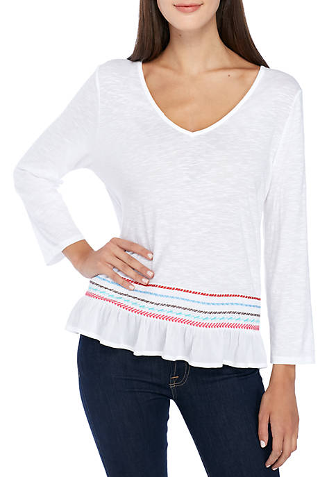 New Directions® Embroidered Bell Sleeve Top
