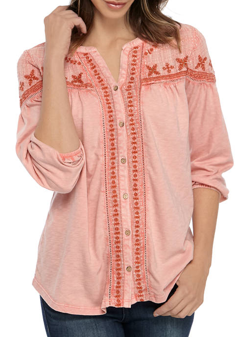 New Directions® Womens 3/4 Sleeve Embellished Peasant Top