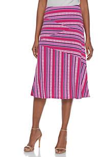 Stripe Mix Knit Midi Skirt