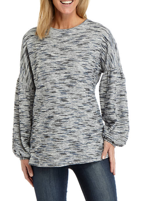 Womens Jacquard Bubble Sleeve Pullover