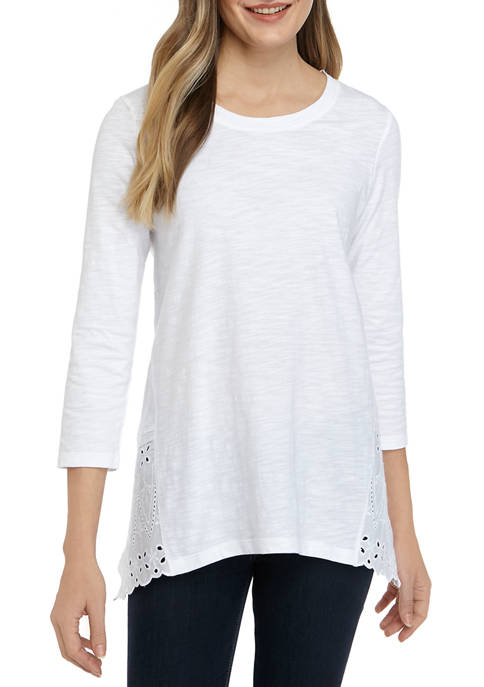 New Directions® Womens Pieced 3/4 Sleeve T-Shirt