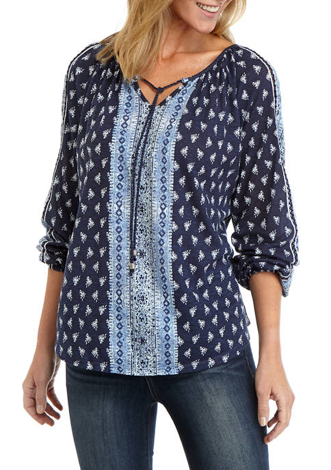 New Directions® Womens Printed Split Front Top