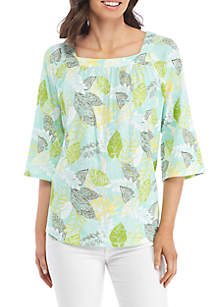 Embroidered Square Neck Print Top