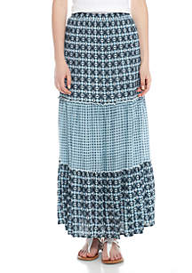 Tiered Mixed Print Maxi Skirt