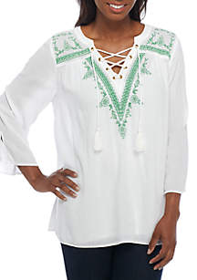 Embroidered Knit Henley Top