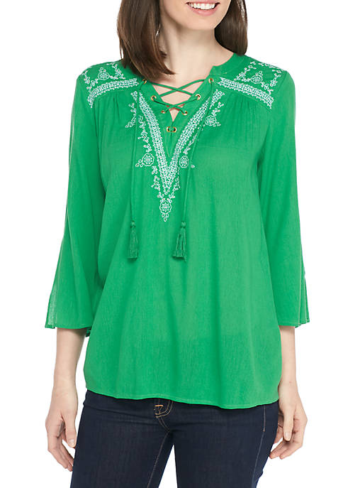 New Directions® Embroidered Knit Henley Top