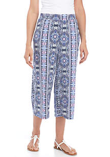 Wide Leg Crepe Print Pants