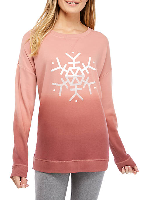 Womens Long Sleeve Solid Graphic Pullover