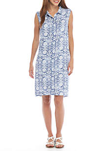 Button Front Collar Printed Dress