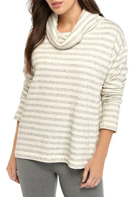 Womens Long Sleeve Seam Cowl Neck Heather Stripe Studio Pullover