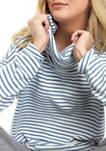 Womens Long Sleeve Cowl Neck Rib Hacci Stripe Pullover
