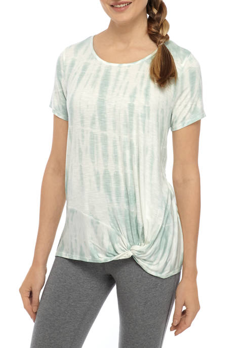 New Directions® Womens Short Sleeve Knot Front T-Shirt