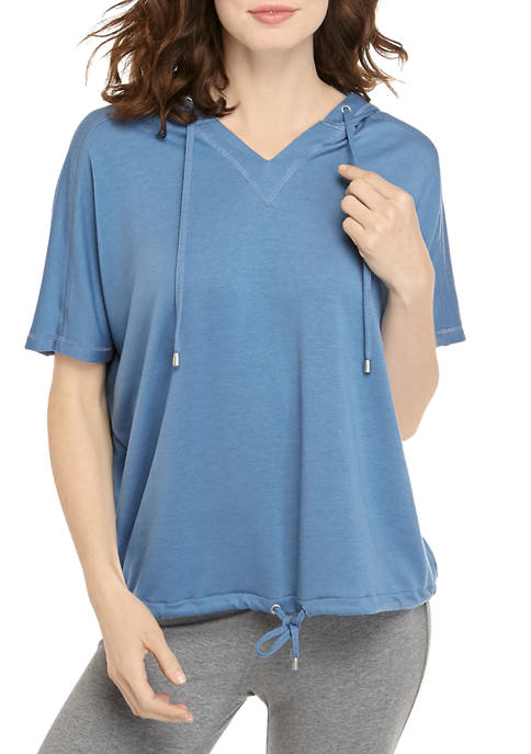Womens Short Sleeve Hooded Top