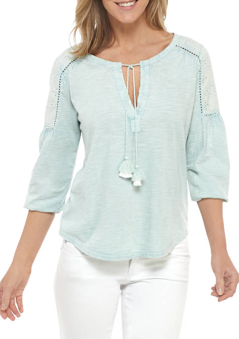 New Directions® Womens Eyelet Shoulder Peasant Top