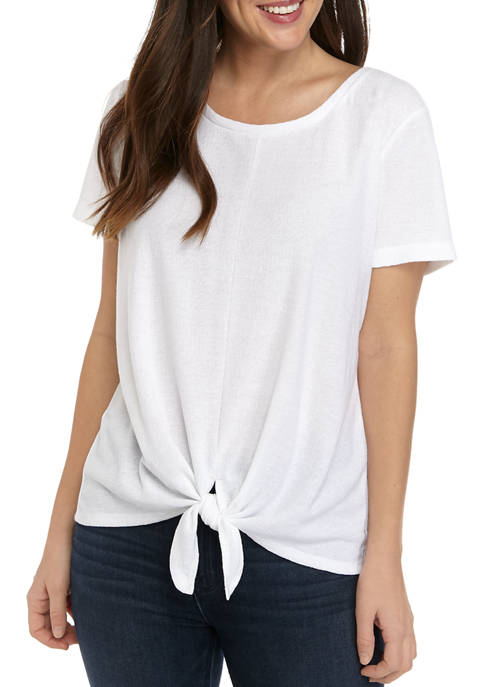 New Directions® Womens Tie Front Shirt