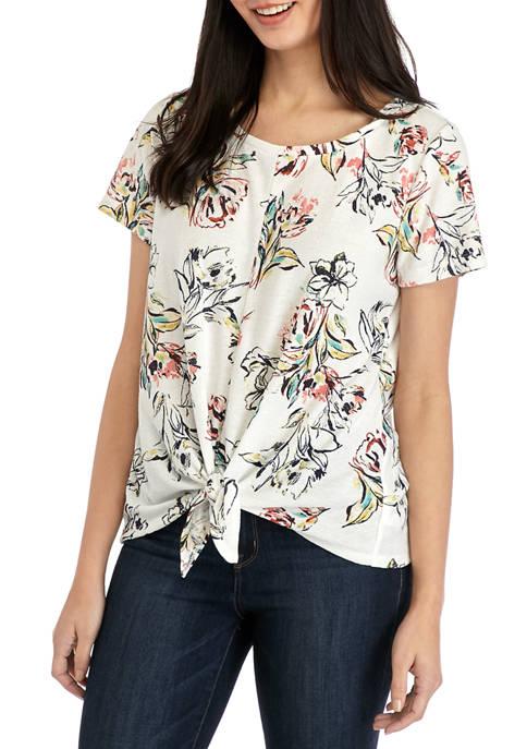 Womens Tie Front Crew Neck T-Shirt