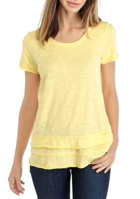 New Directions Womens Crew Neck Layer T-Shirt