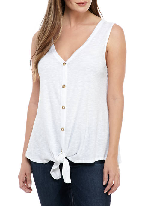 New Directions® Womens Sleeveless Button Front Tie Tank
