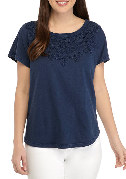 Womens Crochet Yoke Dolman Sleeve T-Shirt