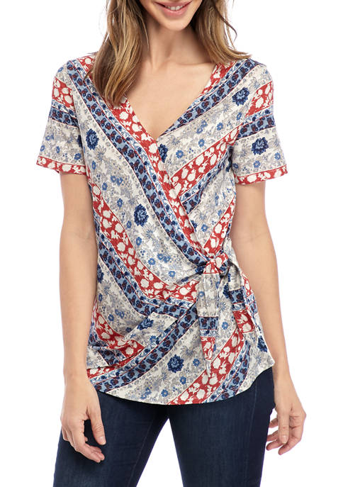 New Directions® Womens Short Sleeve Wrap Front Top