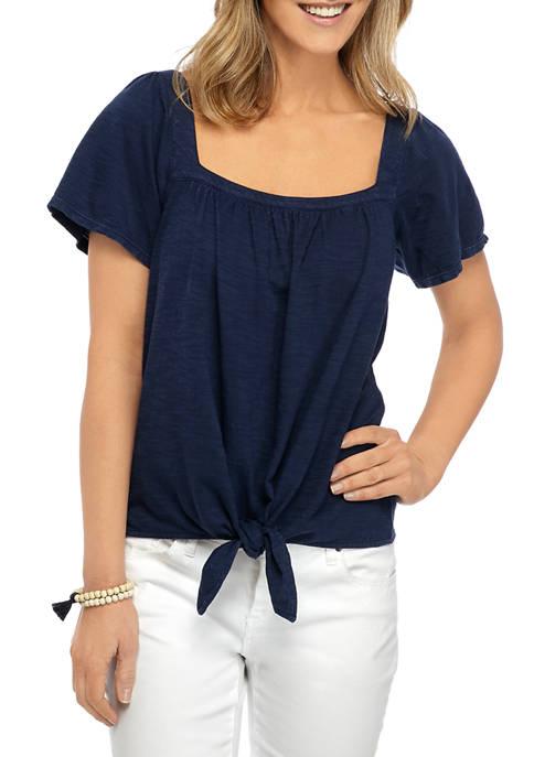 Womens Studio Square Neck Tie Front T-Shirt