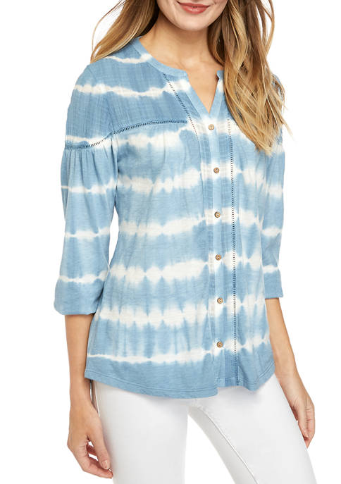 Womens Embroidered Split Neck Peasant Top